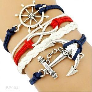 Nautical Leather Bracelet Anchor Wheel